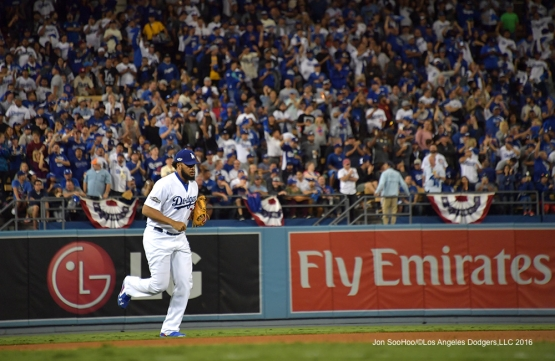 2016 NLCS Game 3---Kenley Jansen enters the game-Los Angeles Dodgers vs Chicago Cubs Tuesday, October 18, 2016 at Dodger Stadium in Los Angeles, California. Photo by Jon SooHoo/© Los Angeles Dodgers, LLC 2016