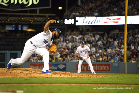 2016 NLCS Game 3---Kenley Jansen-Los Angeles Dodgers vs Chicago Cubs Tuesday, October 18, 2016 at Dodger Stadium in Los Angeles, California. Photo by Jon SooHoo/© Los Angeles Dodgers, LLC 2016