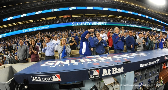 2016 NLCS Game 3---Great Dodger fans erupt-Los Angeles Dodgers vs Chicago Cubs Tuesday, October 18, 2016 at Dodger Stadium in Los Angeles, California. Photo by Jon SooHoo/© Los Angeles Dodgers, LLC 2016