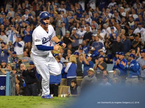 2016 NLCS Game 3---Joc Pederson scores-Los Angeles Dodgers vs Chicago Cubs Tuesday, October 18, 2016 at Dodger Stadium in Los Angeles, California. Photo by Jon SooHoo/© Los Angeles Dodgers, LLC 2016