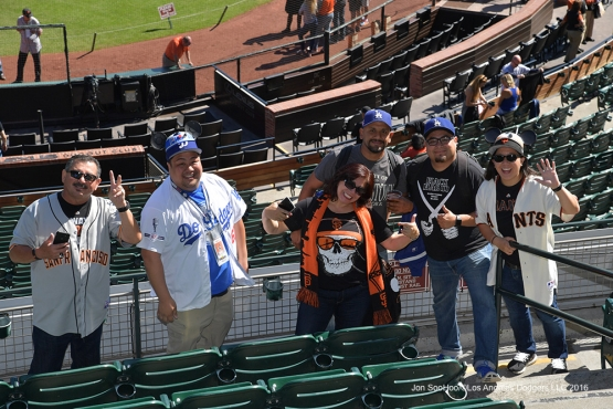 Great Los Angeles Dodger fans and others pose prior to game against the San Francisco Giants Saturday, October 1, 2016 at AT&T Park. Photo by Jon SooHoo/©Los Angeles Dodgers,LLC 2016