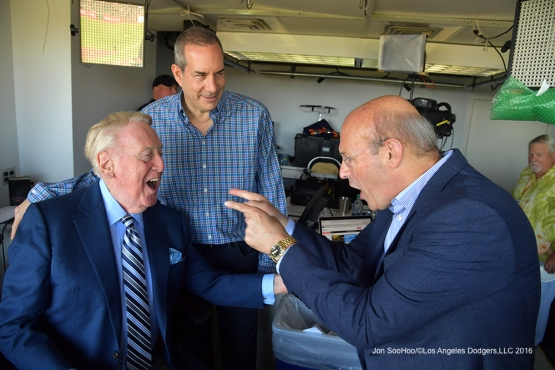 Vin Scully laughs with Stan Kasten prior to Los Angeles Dodgers game against the San Francisco Giants Saturday, October 1, 2016 at AT&T Park. Photo by Jon SooHoo/©Los Angeles Dodgers,LLC 2016