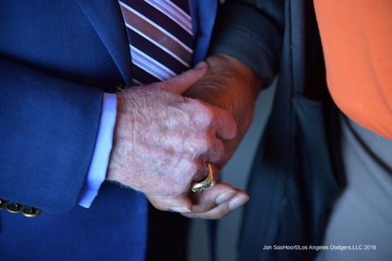 Vin Scully and Willie Mays hands prior to Los Angeles Dodgers game against the San Francisco Giants Saturday, October 1, 2016 at AT&T Park. Photo by Jon SooHoo/©Los Angeles Dodgers,LLC 2016