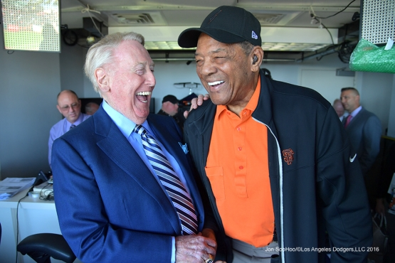 Vin Scully and Willie Mays share a laugh prior to Los Angeles Dodgers game against the San Francisco Giants Saturday, October 1, 2016 at AT&T Park. Photo by Jon SooHoo/©Los Angeles Dodgers,LLC 2016
