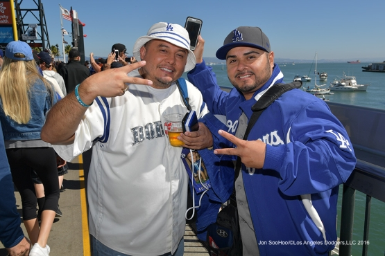 Great Los Angeles Dodger fans pose prior to game against the San Francisco Giants Saturday, October 1, 2016 at AT&T Park. Photo by Jon SooHoo/©Los Angeles Dodgers,LLC 2016
