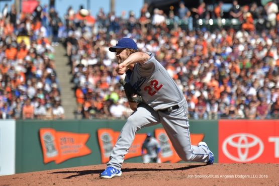 Clayton Kershaw pitches against the San Francisco Giants Saturday, October 1, 2016 at AT&T Park. Photo by Jon SooHoo/©Los Angeles Dodgers,LLC 2016
