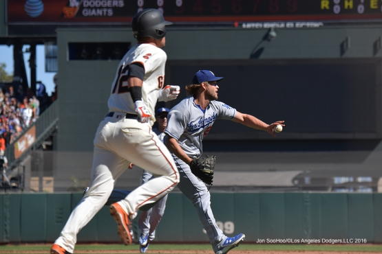 Clayton Kershaw fields ball against the San Francisco Giants Saturday, October 1, 2016 at AT&T Park. Photo by Jon SooHoo/©Los Angeles Dodgers,LLC 2016