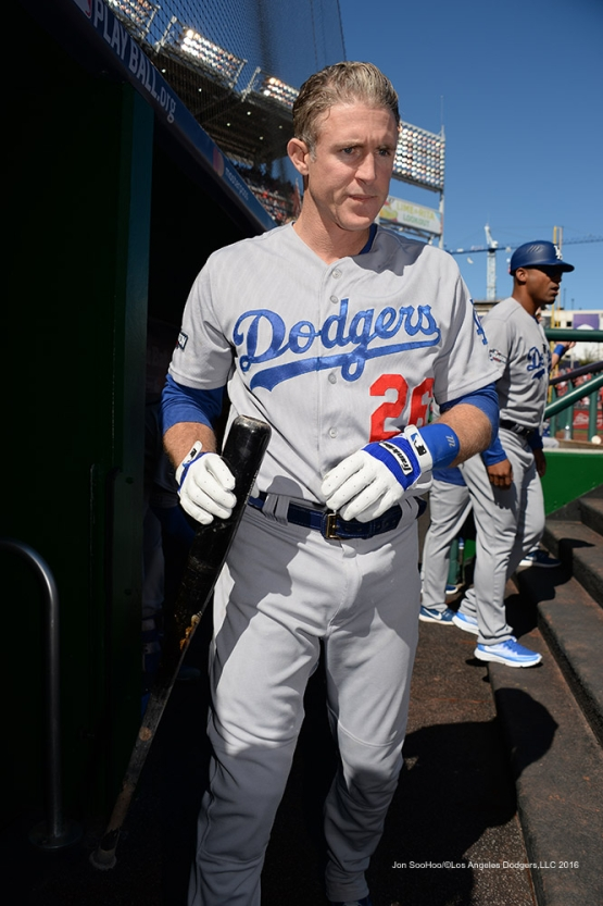 2016 NLDS Game Two---Chase Utley--Los Angeles Dodgers vs Washington Nationals  Sunday, October 9, 2016 at Nationals Park in Washington,DC.  Photo by Jon SooHoo/©Los Angeles Dodgers,LLC 2016