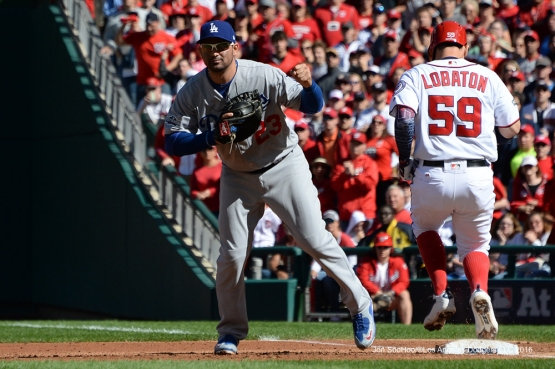 2016 NLDS Game Two---Adrian Gonzalez--Los Angeles Dodgers vs Washington Nationals  Sunday, October 9, 2016 at Nationals Park in Washington,DC.  Photo by Jon SooHoo/©Los Angeles Dodgers,LLC 2016
