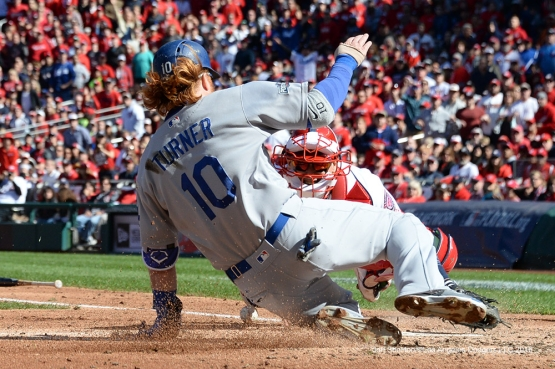 2016 NLDS Game Two---Justin Turner scores--Los Angeles Dodgers vs Washington Nationals  Sunday, October 9, 2016 at Nationals Park in Washington,DC.  Photo by Jon SooHoo/©Los Angeles Dodgers,LLC 2016