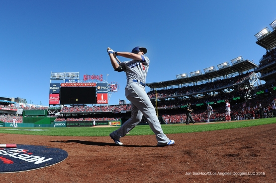 2016 NLDS Game Two---Corey Seager on deck--Los Angeles Dodgers vs Washington Nationals  Sunday, October 9, 2016 at Nationals Park in Washington,DC.  Photo by Jon SooHoo/©Los Angeles Dodgers,LLC 2016