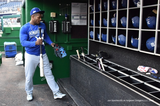 Yasiel Puig--Los Angeles Dodgers workout Thursday, October 6, 2016 at Nationals Park in Washington,DC. Photo by Jon SooHoo/©Los Angeles Dodgers,LLC 2016