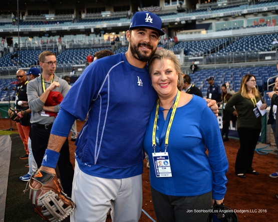 NLDS-Game 5-Andre Ethier and Sherri Patton-Los Angeles Dodgers vs Washington Nationals-Dodgers defeat the Nationals 4-3. Wednesday, October 13, 2016. Photo by Jon SooHoo/©Los Angeles Dodgers,LLC 2016
