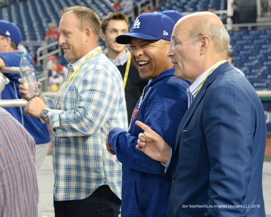 NLDS-Game 5-Dave Roberts and Stan Kasten--Los Angeles Dodgers vs Washington Nationals-Dodgers defeat the Nationals 4-3. Wednesday, October 13, 2016. Photo by Jon SooHoo/©Los Angeles Dodgers,LLC 2016