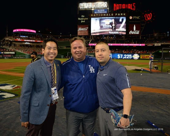 NLDS-Game 5-Scott Akasaki, Mitch Poole and Alex Torres-Los Angeles Dodgers vs Washington Nationals-Dodgers defeat the Nationals 4-3. Wednesday, October 13, 2016. Photo by Jon SooHoo/©Los Angeles Dodgers,LLC 2016