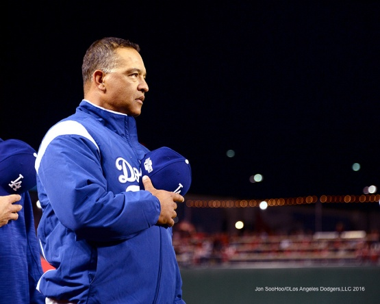 NLDS-Game 5-Dave Roberts-Los Angeles Dodgers vs Washington Nationals-Dodgers defeat the Nationals 4-3. Wednesday, October 13, 2016. Photo by Jon SooHoo/©Los Angeles Dodgers,LLC 2016