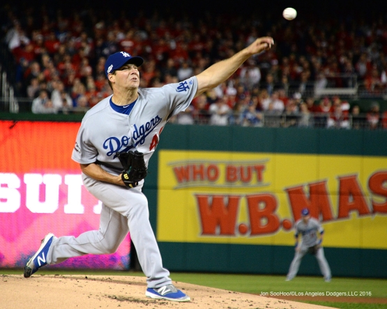 NLDS-Game 5-Rich Hill-Los Angeles Dodgers vs Washington Nationals-Dodgers defeat the Nationals 4-3. Wednesday, October 13, 2016. Photo by Jon SooHoo/©Los Angeles Dodgers,LLC 2016