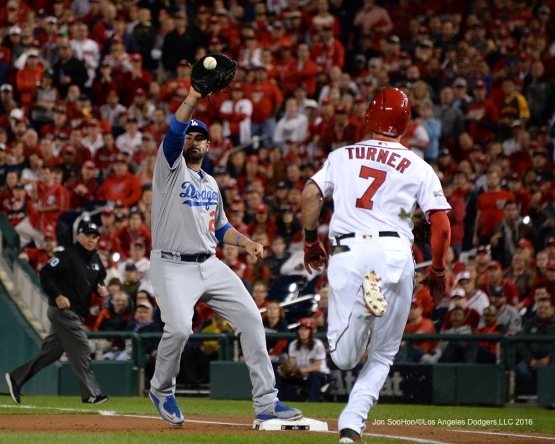 NLDS-Game 5-Adrian Gonzalez-Los Angeles Dodgers vs Washington Nationals-Dodgers defeat the Nationals 4-3. Wednesday, October 13, 2016. Photo by Jon SooHoo/©Los Angeles Dodgers,LLC 2016