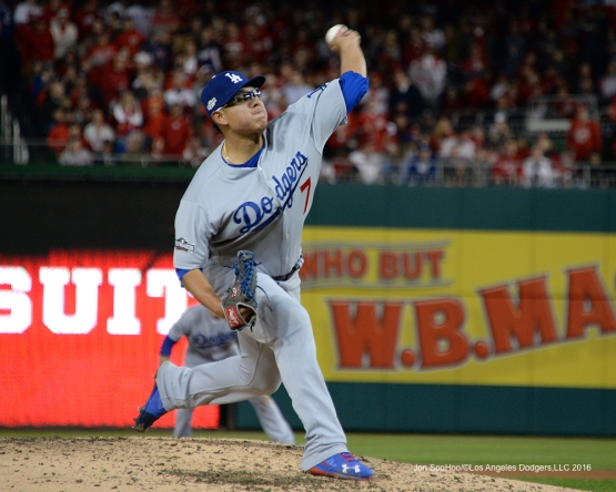 NLDS-Game 5-Julio Urias-Los Angeles Dodgers vs Washington Nationals-Dodgers defeat the Nationals 4-3. Wednesday, October 13, 2016. Photo by Jon SooHoo/©Los Angeles Dodgers,LLC 2016