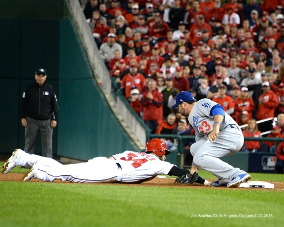 NLDS-Game 5-Adrian Gonzalez tags out Harper-Los Angeles Dodgers vs Washington Nationals-Dodgers defeat the Nationals 4-3. Wednesday, October 13, 2016. Photo by Jon SooHoo/©Los Angeles Dodgers,LLC 2016