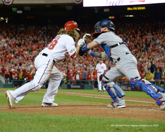 NLDS-Game 5-Yasmani Grandal tags out Werth-Los Angeles Dodgers vs Washington Nationals-Dodgers defeat the Nationals 4-3. Wednesday, October 13, 2016. Photo by Jon SooHoo/©Los Angeles Dodgers,LLC 2016