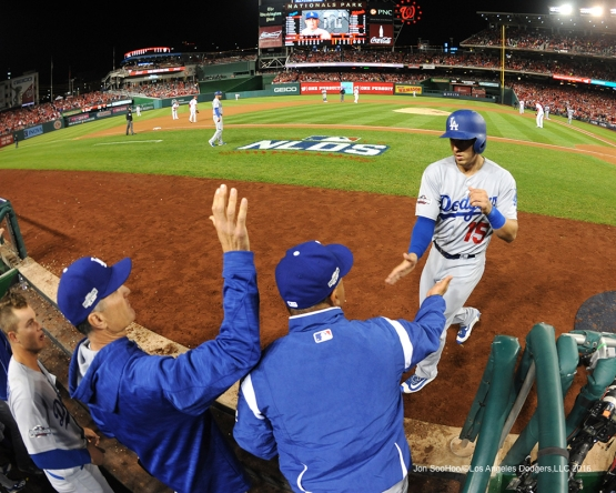 NLDS-Game 5-Austin Barnes scores-Los Angeles Dodgers vs Washington Nationals-Dodgers defeat the Nationals 4-3. Wednesday, October 13, 2016. Photo by Jon SooHoo/©Los Angeles Dodgers,LLC 2016