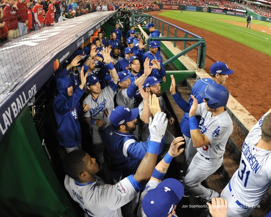 NLDS-Game 5-Austin Barnes greeted after scoring--Los Angeles Dodgers vs Washington Nationals-Dodgers defeat the Nationals 4-3. Wednesday, October 13, 2016. Photo by Jon SooHoo/©Los Angeles Dodgers,LLC 2016