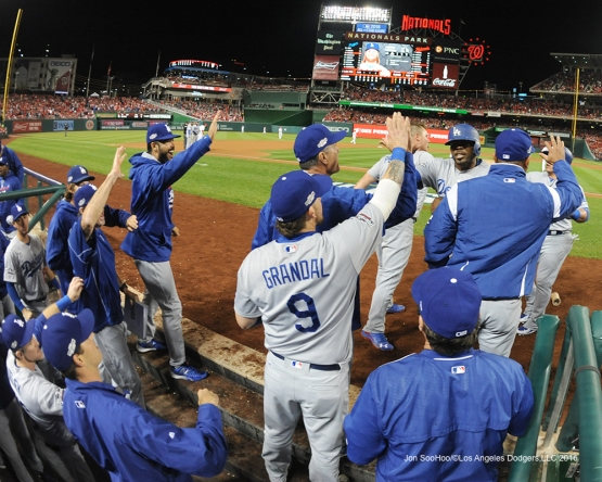 NLDS-Game 5-Howie Kendrick and Carlos Ruiz are greeted after scoring-Los Angeles Dodgers vs Washington Nationals-Dodgers defeat the Nationals 4-3. Wednesday, October 13, 2016. Photo by Jon SooHoo/©Los Angeles Dodgers,LLC 2016