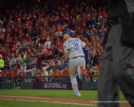 NLDS-Game 5-Joc Pederson homers-Los Angeles Dodgers vs Washington Nationals-Dodgers defeat the Nationals 4-3. Wednesday, October 13, 2016. Photo by Jon SooHoo/©Los Angeles Dodgers,LLC 2016