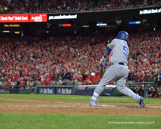 NLDS-Game 5-Carlos Ruiz singles-Los Angeles Dodgers vs Washington Nationals-Dodgers defeat the Nationals 4-3. Wednesday, October 13, 2016. Photo by Jon SooHoo/©Los Angeles Dodgers,LLC 2016
