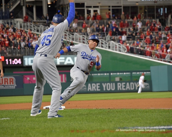 NLDS-Game 5-Carlos Ruiz scores-Los Angeles Dodgers vs Washington Nationals-Dodgers defeat the Nationals 4-3. Wednesday, October 13, 2016. Photo by Jon SooHoo/©Los Angeles Dodgers,LLC 2016