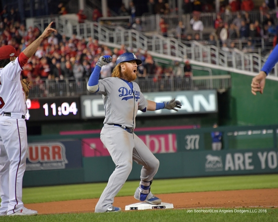 NLDS-Game 5-Justin Turner triples-Los Angeles Dodgers vs Washington Nationals-Dodgers defeat the Nationals 4-3. Wednesday, October 13, 2016. Photo by Jon SooHoo/©Los Angeles Dodgers,LLC 2016