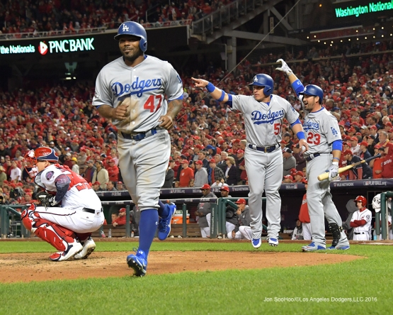 NLDS-Game 5-Howie Kendrick and Carlos Ruiz scores on Justin Turner triple-Los Angeles Dodgers vs Washington Nationals-Dodgers defeat the Nationals 4-3. Wednesday, October 13, 2016. Photo by Jon SooHoo/©Los Angeles Dodgers,LLC 2016