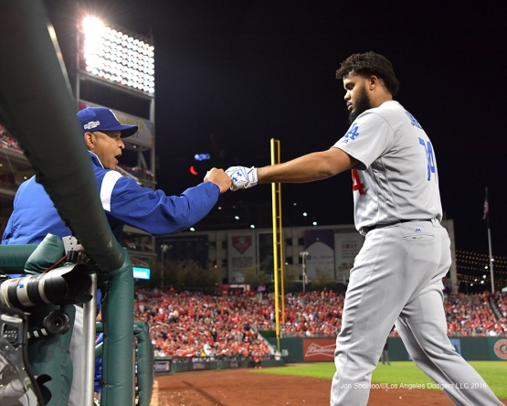 NLDS-Game 5-Kenley Jansen and Dave Roberts-Los Angeles Dodgers vs Washington Nationals-Dodgers defeat the Nationals 4-3. Wednesday, October 13, 2016. Photo by Jon SooHoo/©Los Angeles Dodgers,LLC 2016