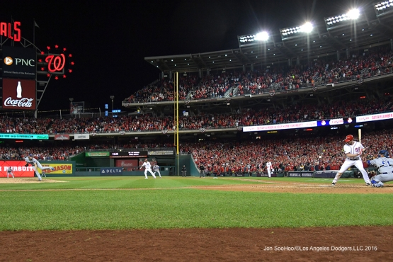 NLDS-Game 5-Clayton Kershaw vs Daniel Murphy-Los Angeles Dodgers vs Washington Nationals-Dodgers defeat the Nationals 4-3. Wednesday, October 13, 2016. Photo by Jon SooHoo/©Los Angeles Dodgers,LLC 2016