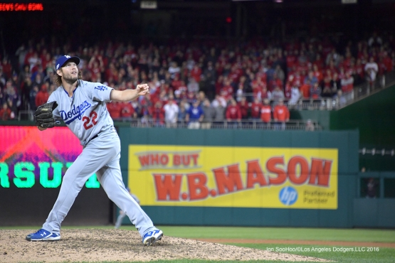 NLDS-Game 5-Clayton Kershaw gets Daniel Murphy to pop up-Los Angeles Dodgers vs Washington Nationals-Dodgers defeat the Nationals 4-3. Wednesday, October 13, 2016. Photo by Jon SooHoo/©Los Angeles Dodgers,LLC 2016