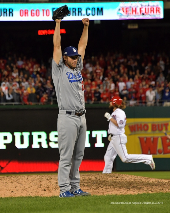 NLDS-Game 5-Clayton Kershaw celebrates Dodgers victory--Los Angeles Dodgers vs Washington Nationals-Dodgers defeat the Nationals 4-3. Wednesday, October 13, 2016. Photo by Jon SooHoo/©Los Angeles Dodgers,LLC 2016