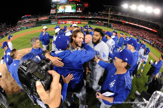 NLDS-Game 5-The Los Angeles Dodgers celebrate the Game Five victory--Los Angeles Dodgers vs Washington Nationals-Dodgers defeat the Nationals 4-3. Wednesday, October 13, 2016. Photo by Jon SooHoo/©Los Angeles Dodgers,LLC 2016
