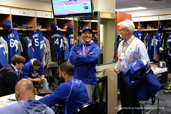 NLCS Game One-Dave Roberts and Mark Walter-Los Angeles Dodgers vs Chicago Cubs  Saturday, October 15, 2016 at Wrigley Field in Chicago,Illinois. Photo by Jon SooHoo/©Los Angeles Dodgers,LLC 2016