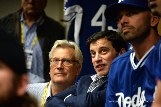 NLCS Game One-Mark Walter and Andrew Friedman-Los Angeles Dodgers vs Chicago Cubs  Saturday, October 15, 2016 at Wrigley Field in Chicago,Illinois. Photo by Jon SooHoo/©Los Angeles Dodgers,LLC 2016