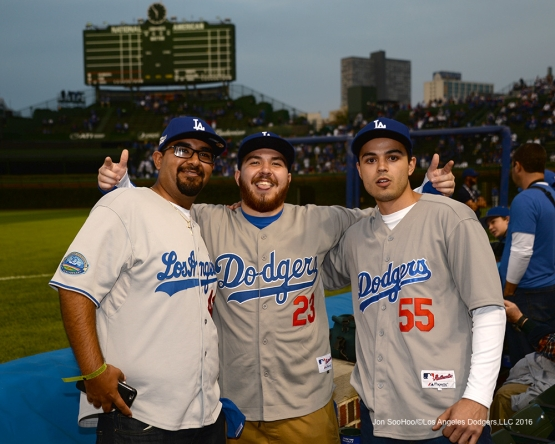 NLCS Game One-Great Dodger fans--Los Angeles Dodgers vs Chicago Cubs  Saturday, October 15, 2016 at Wrigley Field in Chicago,Illinois. Photo by Jon SooHoo/©Los Angeles Dodgers,LLC 2016
