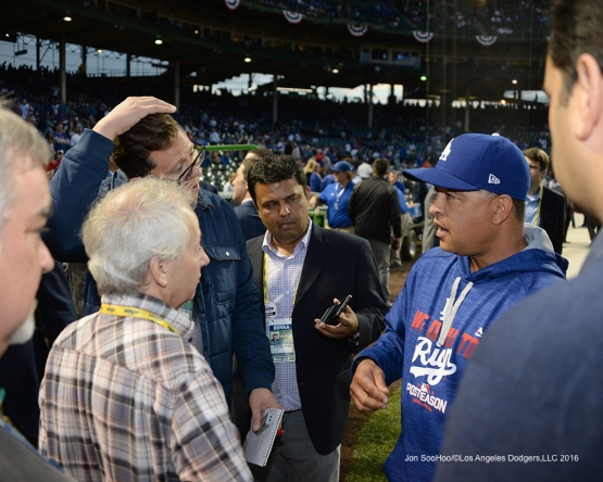 NLCS Game One-Dave Roberts-Los Angeles Dodgers vs Chicago Cubs  Saturday, October 15, 2016 at Wrigley Field in Chicago,Illinois. Photo by Jon SooHoo/©Los Angeles Dodgers,LLC 2016
