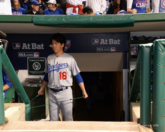 NLCS Game One-Kenta Maeda-Los Angeles Dodgers vs Chicago Cubs  Saturday, October 15, 2016 at Wrigley Field in Chicago,Illinois. Photo by Jon SooHoo/©Los Angeles Dodgers,LLC 2016