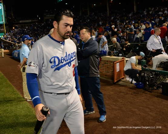 NLCS Game One-Adrian Gonzalez-Los Angeles Dodgers vs Chicago Cubs  Saturday, October 15, 2016 at Wrigley Field in Chicago,Illinois. Photo by Jon SooHoo/©Los Angeles Dodgers,LLC 2016