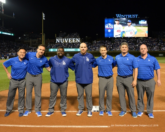 NLCS Game One-The training staff--Los Angeles Dodgers vs Chicago Cubs  Saturday, October 15, 2016 at Wrigley Field in Chicago,Illinois. Photo by Jon SooHoo/©Los Angeles Dodgers,LLC 2016