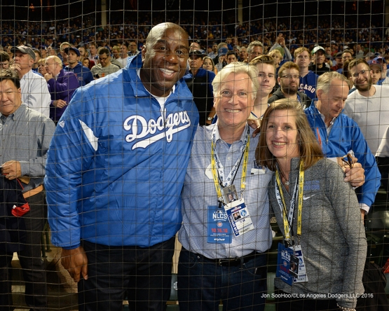 NLCS Game One-Earvin Johnson and the Walter family-Los Angeles Dodgers vs Chicago Cubs  Saturday, October 15, 2016 at Wrigley Field in Chicago,Illinois. Photo by Jon SooHoo/©Los Angeles Dodgers,LLC 2016