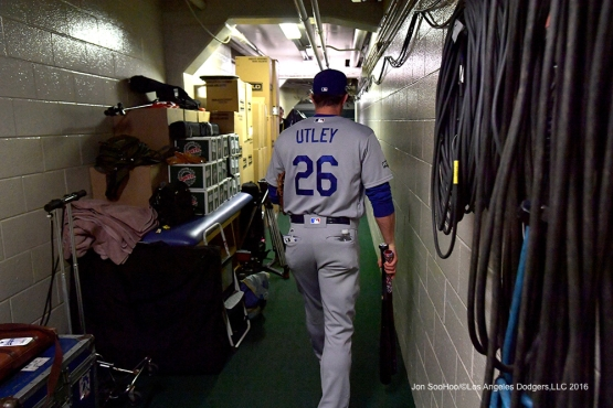 NLCS Game One-Chase Utley-Los Angeles Dodgers vs Chicago Cubs  Saturday, October 15, 2016 at Wrigley Field in Chicago,Illinois. Photo by Jon SooHoo/©Los Angeles Dodgers,LLC 2016
