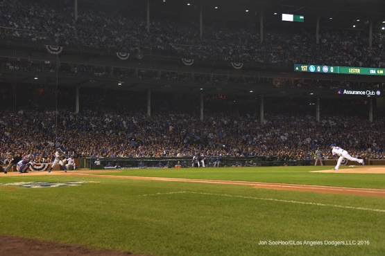NLCS Game One-First pitch-Los Angeles Dodgers vs Chicago Cubs  Saturday, October 15, 2016 at Wrigley Field in Chicago,Illinois. Photo by Jon SooHoo/©Los Angeles Dodgers,LLC 2016