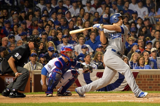 NLCS Game One-Corey Seager singles-Los Angeles Dodgers vs Chicago Cubs  Saturday, October 15, 2016 at Wrigley Field in Chicago,Illinois. Photo by Jon SooHoo/©Los Angeles Dodgers,LLC 2016