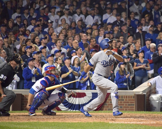 NLCS Game One-Andre Ethier homers-Los Angeles Dodgers vs Chicago Cubs  Saturday, October 15, 2016 at Wrigley Field in Chicago,Illinois. Photo by Jon SooHoo/©Los Angeles Dodgers,LLC 2016